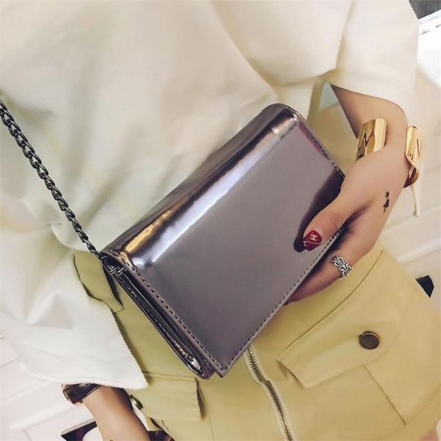 b11a68a4d4f7 BARHEE Mirror Mini Crossbody Bags for Girl Chains Women Handbag Reflective  Clutch Bag PU Leather Summer Small Flap Messenger Bag