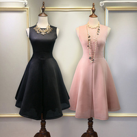 pink and black color o neck annual dinner show bride pure color party dress 2017 women new style simple sweet robe pink XXL 079