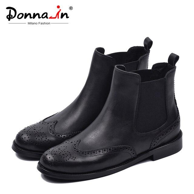 ドナ-チェルシー革ブーツ女性本物のアンクルブーツブローグラウンドつま先フラット豪華なショートハンドメイドの靴女性黒 2019