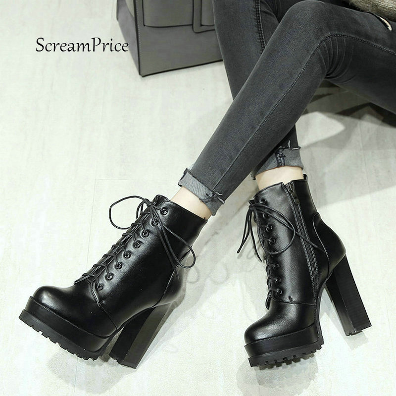Women Thick High Heel With Side Zipper Boots Fashion Lace Up Platform Winter Ankle Boots Black
