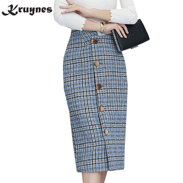 da5856726c 2018 de alta cintura gruesa de lana Plaid falda lápiz Mujer Otoño Invierno Falda  larga falda