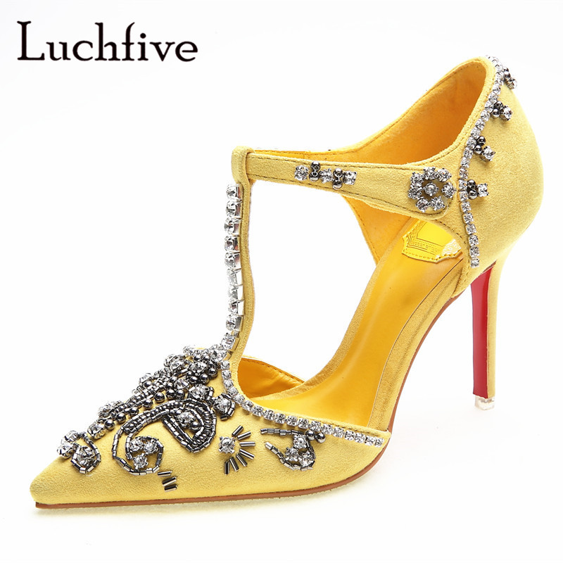 Nouveau cristal mince talons hauts femmes pompes t-nouées découpes bout pointu chaussures de fête jaune noir strass sexy chaussures femme
