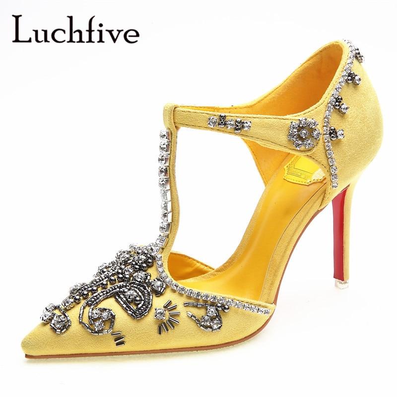 Nouveau cristal mince talons hauts femmes pompes t nouées découpes bout pointu chaussures de fête jaune noir strass sexy chaussures femme-in Escarpins femme from Chaussures    1