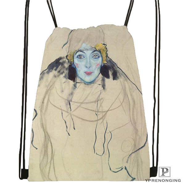 Custom Gustav_Klimt @5 Drawstring Backpack Bag Cute Daypack Kids Satchel (Black Back) 31x40cm#20180611-02-98