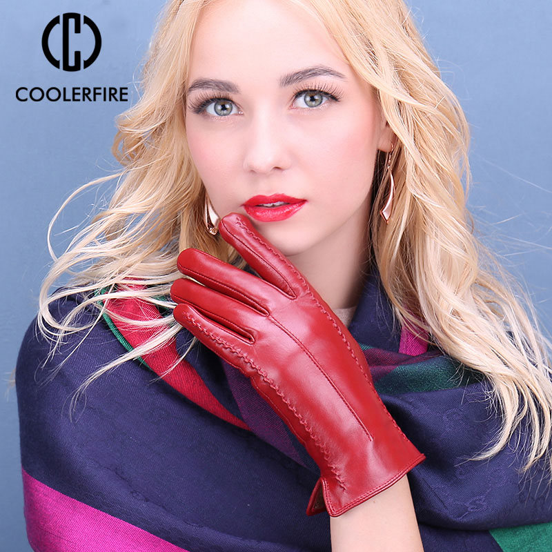 Genuine Leather Gloves Women Warm Lady Genuine Sheepskin Gloves Warm Lining Winter Female Gloves Leather ST2029