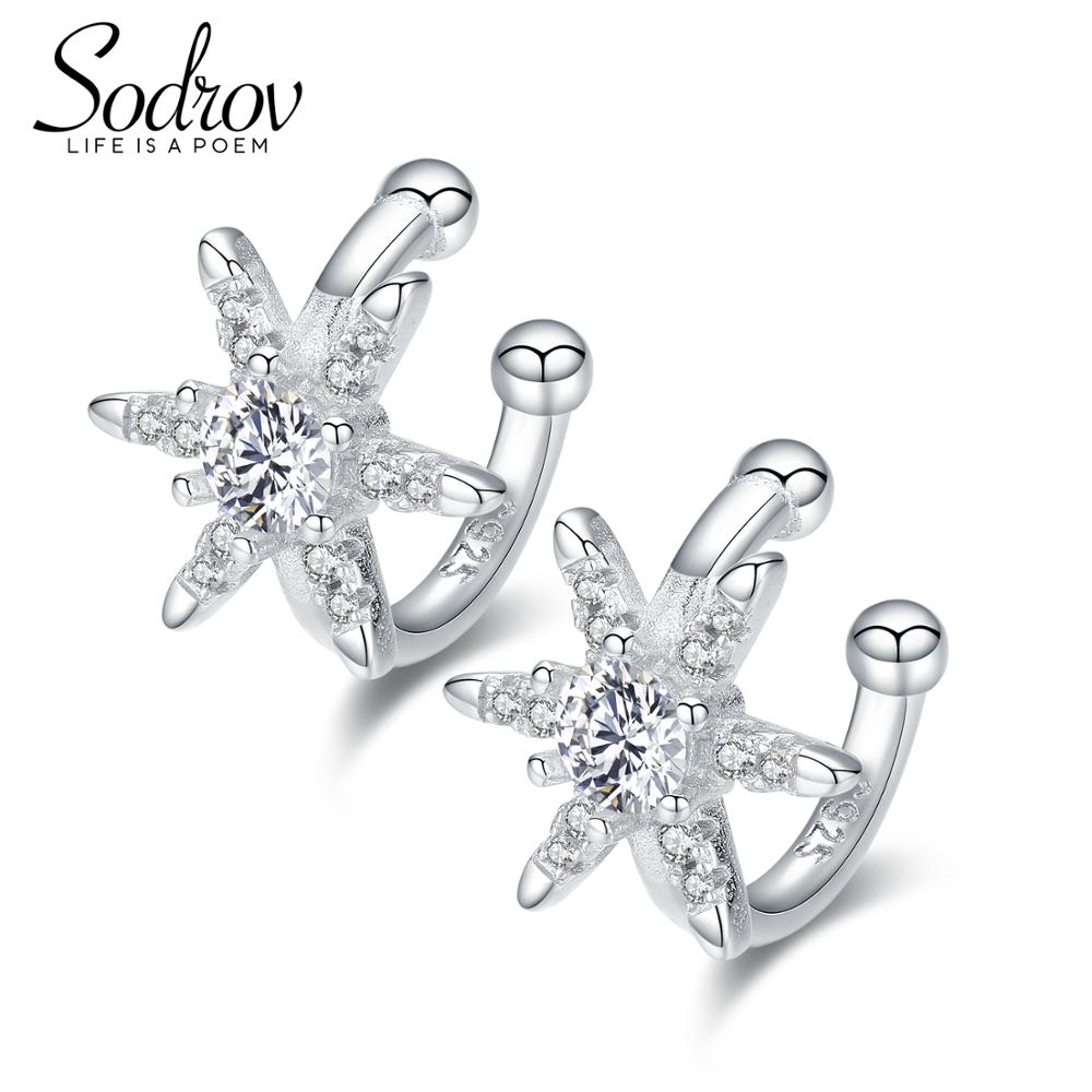 SODROV Real 925 Sterling Silver Star Burst Earrings For Women Cute Style Fine Jewelry HE041 Personalized earrings