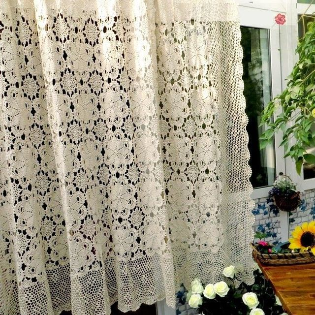 Fresh Water Handmade Hook Needle Crochet 100% Cotton Bed Cover Fashion  Luxury Cutout Knitted Curtain