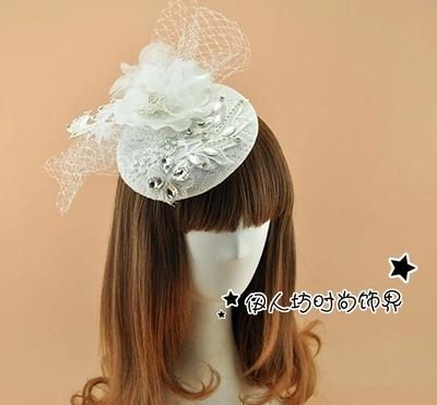 Branco bonito chapéus de noiva com véu claro pedrinhas Crytals pena acessórios nupcial de casamento chapéus 2016 atacado chapéu Fascinator