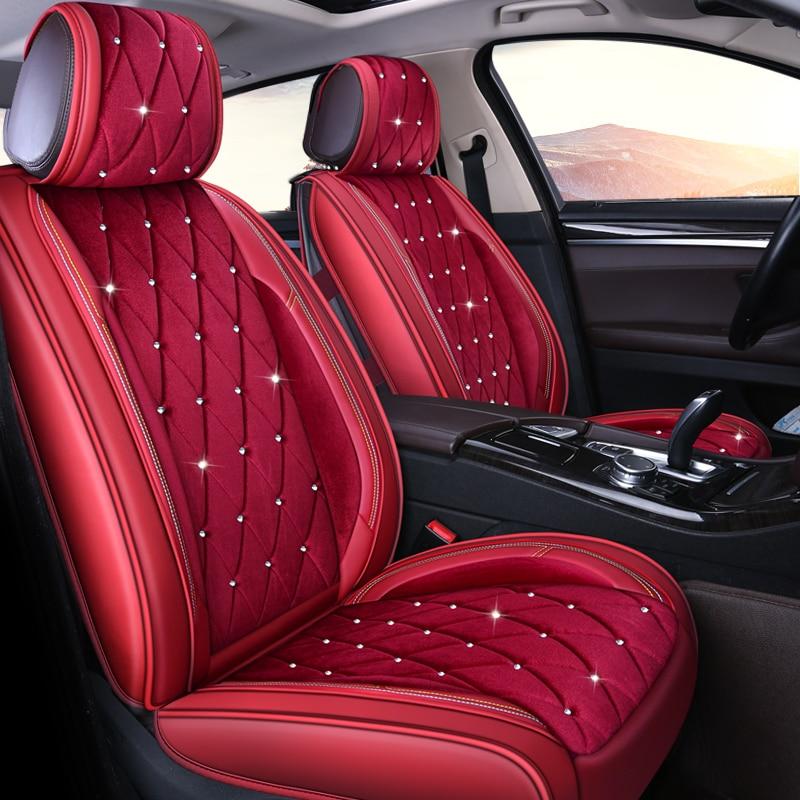 Studded Rhinestone Plush Car Seat Cover For Nissan Qashqai J10