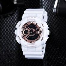 2018 Top Sale OHSEN NEW Fashion Digital Sport Watch Mens Quartz Wristwatch Rubber Band White 50m Waterproof LED Watch Relogios
