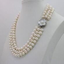WUBIANLU 3 ряда 7-8 мм белый пресноводный жемчуг ожерелье цепь Цветочные пуговицы ювелирные изделия для женщин Девушка банкет 17-19 InchFashion Очаровательная
