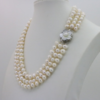 Fashion Charming 3 Row 7-8MM White Freshwater Pearl Necklace Chain Floral Buttons Jewelery Women Girl Banquet 17-19Inch JT5093