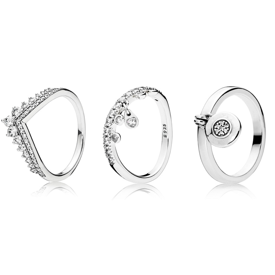 3 Style Original 925 Silver Ring Pave Logo Signature New Silver Charms Diy Crystal With Pendant Rings For Women Jewelry