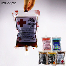 HOHOGOO 5pcs/set 250ML Halloween Party Blood Bag Food Grade Plastic Cocktail Drink Packaging Festival Bar Supplies