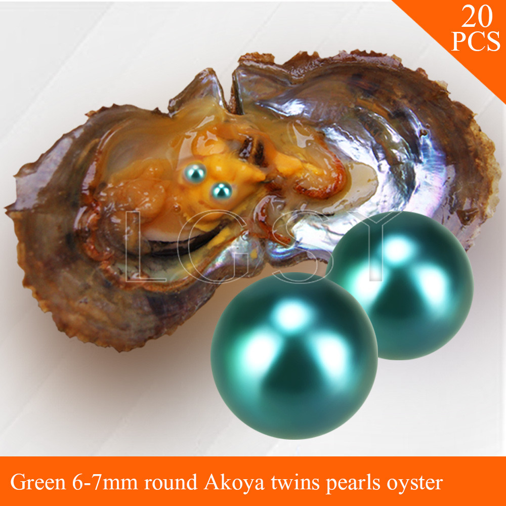 LGSY FREE SHIPPING Bead Green 6-7mm round Akoya twin pearls in oysters with vacuum package for women jewelry making 20pcs free shipping bead bright purple 7 8mm round akoya twin pearls in oysters with vacuum package for women jewelry making 20pcs