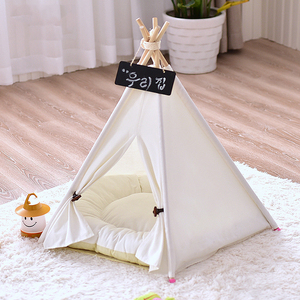 Image 2 - 개 텐트 시간 제한 판매 100% 코 튼 기계 워시 고체 Yuyu 애완 동물 Teepee 하우스 침대 고양이 작은 개를위한 휴대용 개 텐트