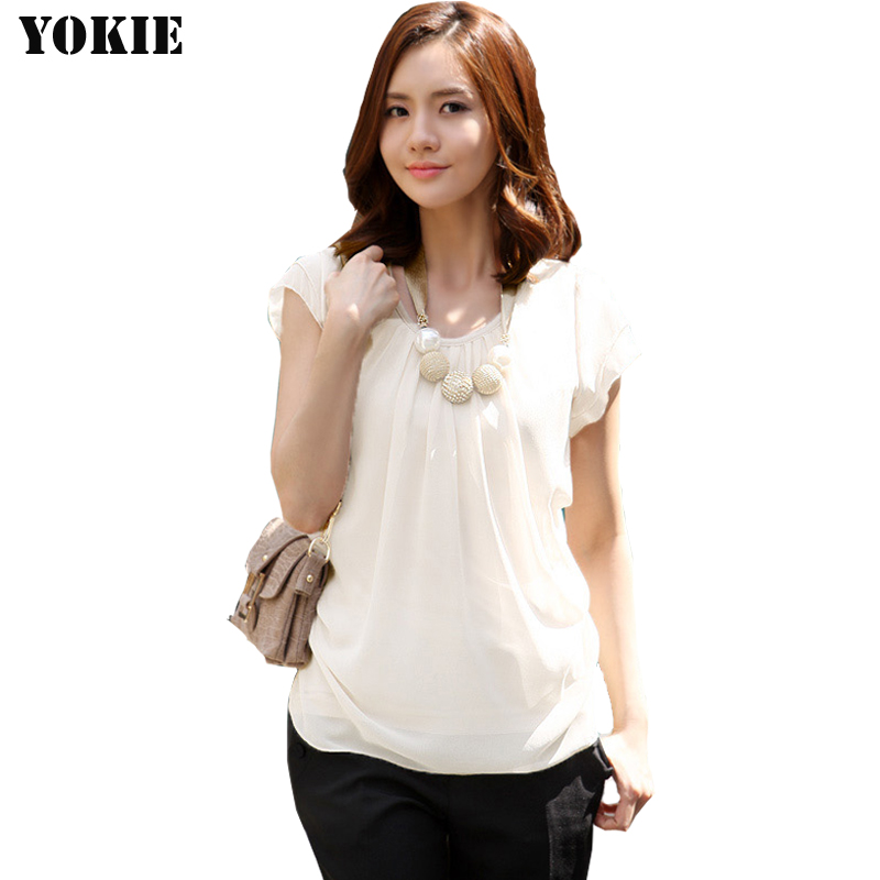 women blouses chiffon  shirt solid short butterfly sleeve casual blusas camisas mujer chemise femme White women tops plus size