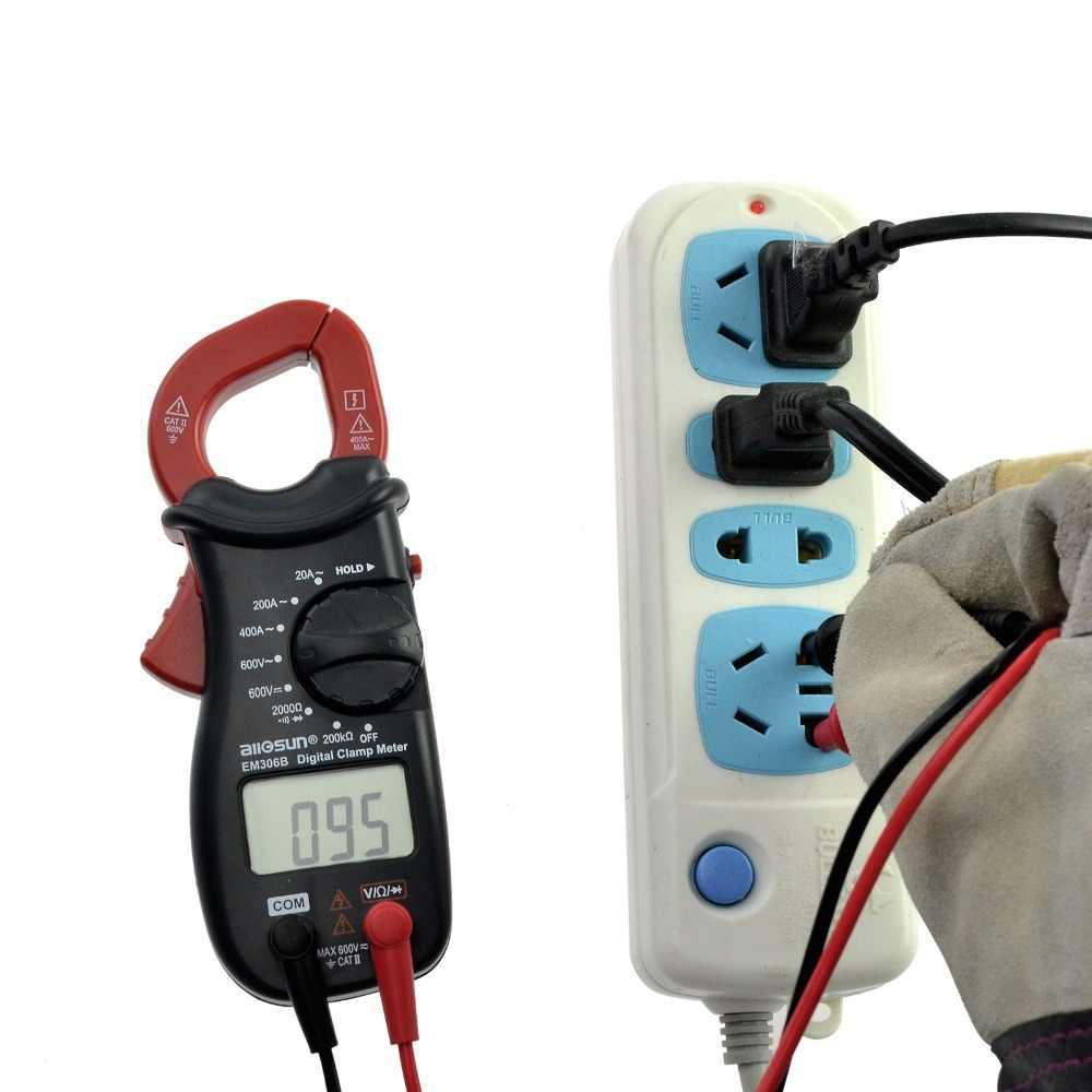디지털 클램프 멀티 미터 AC/DC 전류 미터 부저로 연속성 테스트 전자 테스터 전류계 전압계 all-sun EM306B