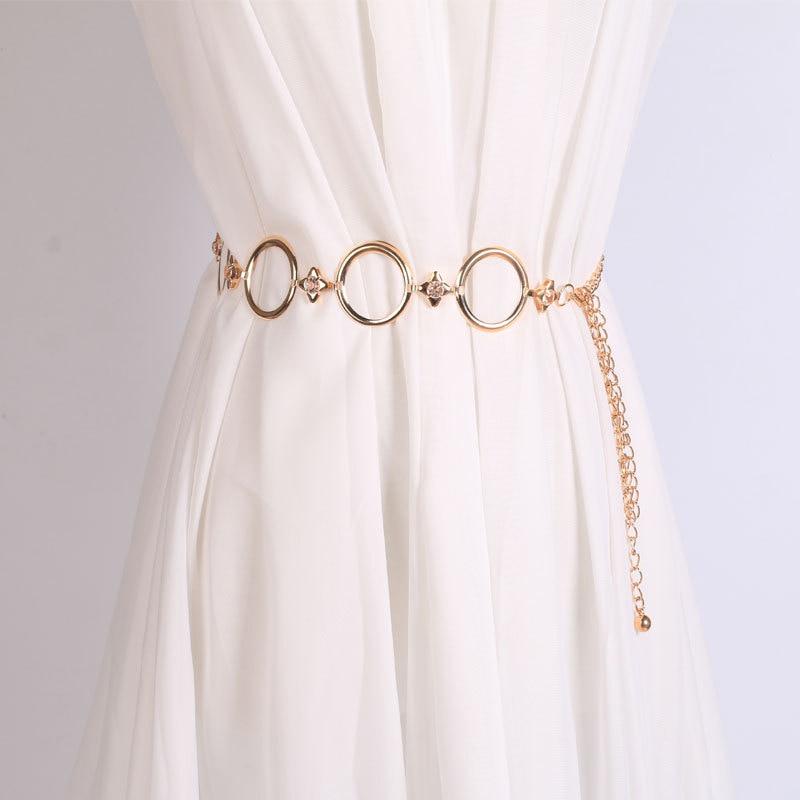 2019 Fashion Metal Waist Chain Gold Plated   Belt   Decoration   Belt   for Dresses Women Circle Metal String Girls Designer   Belts