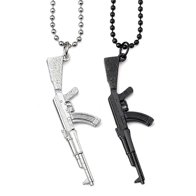 "Mens Silver Stainless Steel AK47 Gun Rifle Pendant 24/"" 60cm Chain Necklace"