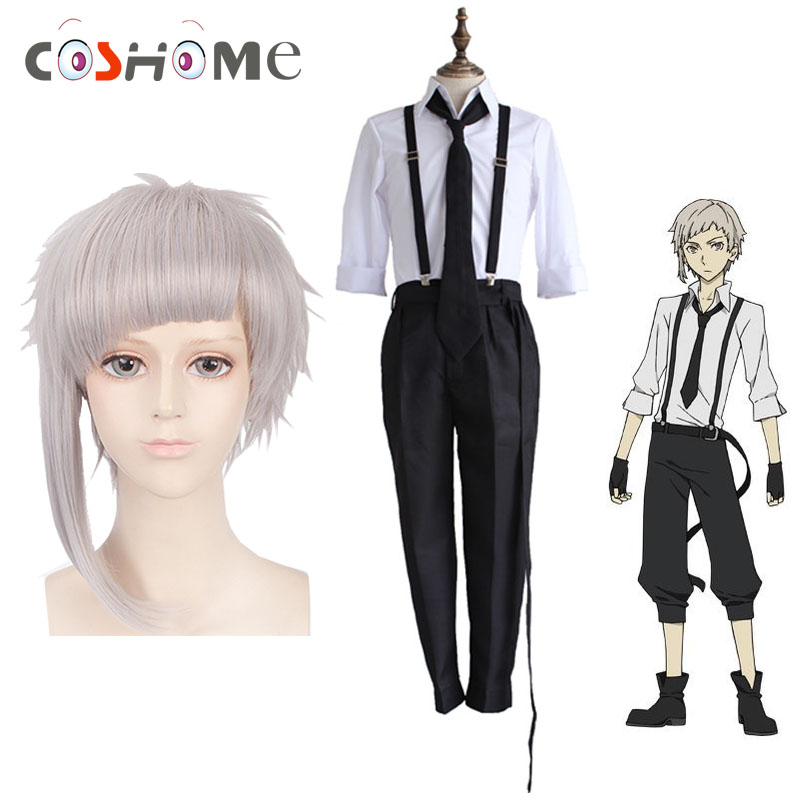 Coshome Bungo Stray Dogs Atsushi Nakajima Cosplay Costumes Wigs Shirts Pants Tie Gloves Set Anime Clothing(China)