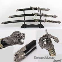 Dragon Sword Set Japanese Samurai Swords 3PCS With Wooden Stand Carbon Steel Black Colour Fantasy Christmas Decorative