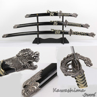Free Shipping Dragon Sword Japanese Samurai Swords Set With Wooden Stand Real Steel Blade Black Color Decorative Props