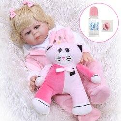 Mała loli 50 cm całego ciała silikon Reborn dziewczyna Baby Doll zabawki realistyczne gładkie loki księżniczka z kotek zabawka dla kota dla sprzedaż wczesna Educa