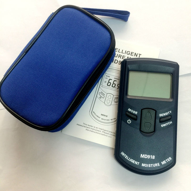 Brand Intelligent Moisture Meter Digital Wood Humidity Tester 4~80% Resolution 0.5% With Bag MD918 Inductive Moisture Meter цена