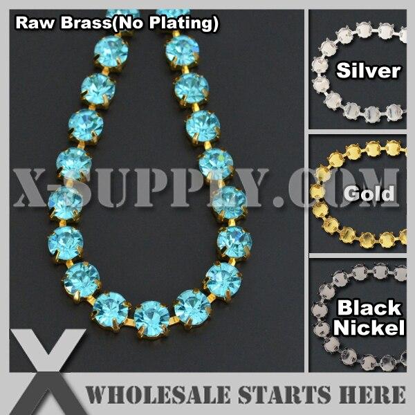 Free Shipping SS38 8mm Handmade Round Rhinestone Cup Chain for Jewelry,Aquamarine Rhinestones