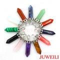 JUWEILI Jewelry Hot Sale Mixed 12pcs Classy Natural Stone Hexagram Prism Reiki Pendant Charms Women Men Healing Chakra Amulet