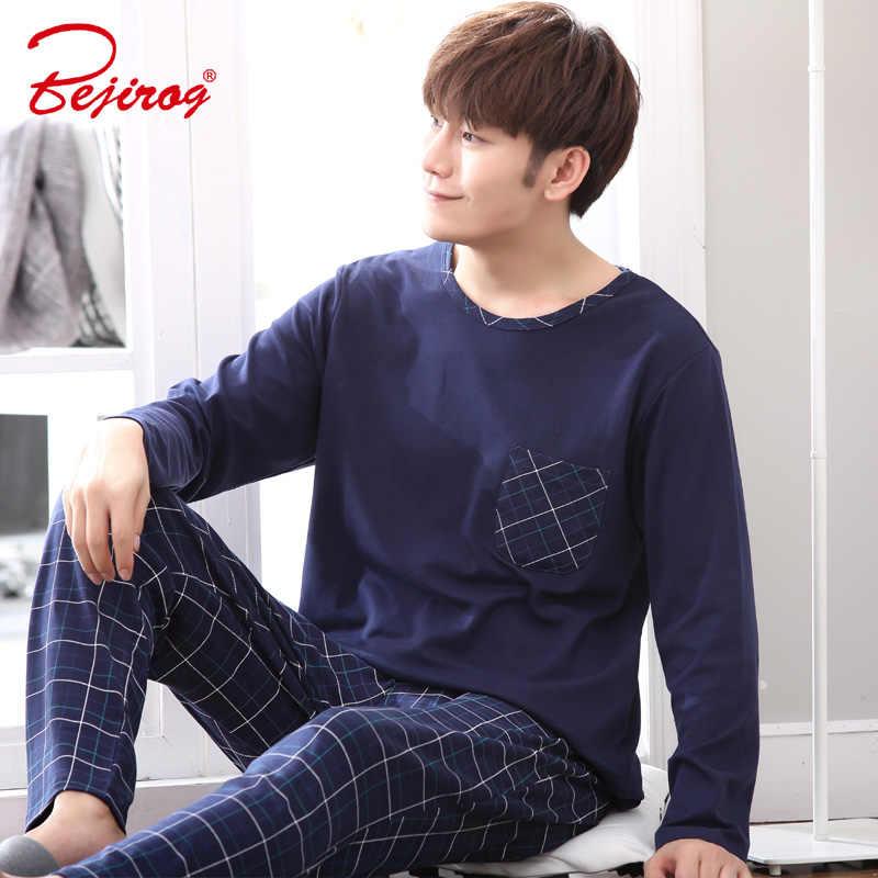 Bejirog с длинным рукавом pijama хлопковые пижамы набор для мужчин плюс  размеры сна костюмы повседневное ночная c2b85f1bb86f8