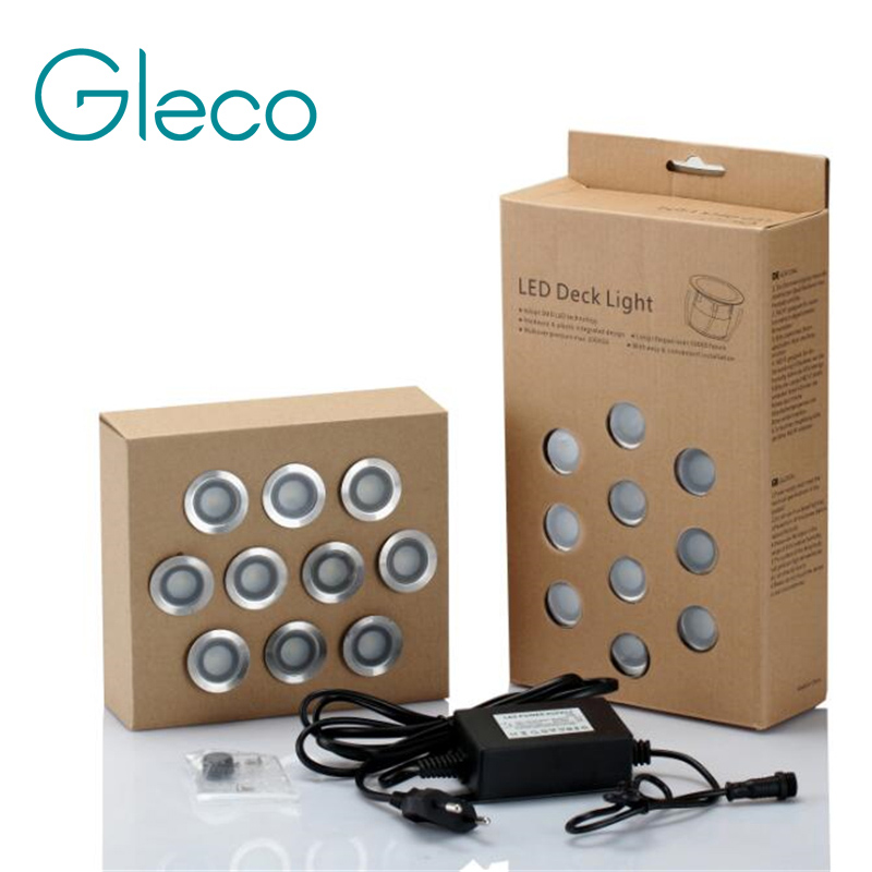 10PCS LED Deck Light IP67 Waterproof Stainless Steel Recessed Stair Underground Bulb Lamp LED Floor Light Wall spotlight DC12V
