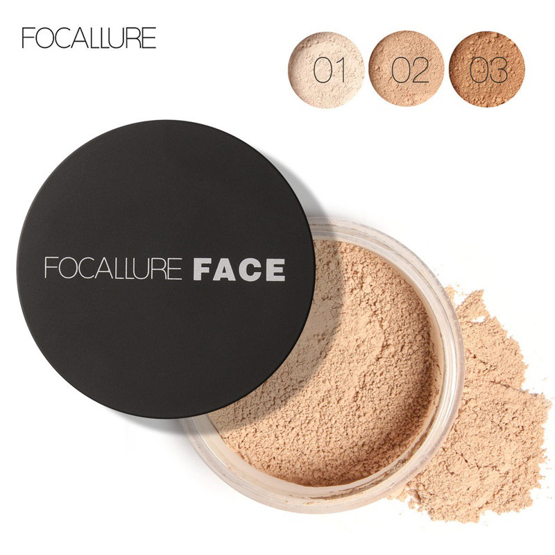 FOCALLURE Face Loose Powder Mineral 3 Colors Waterproof Matte Setting Finish Makeup Oil-control Professional Women's Cosmetics
