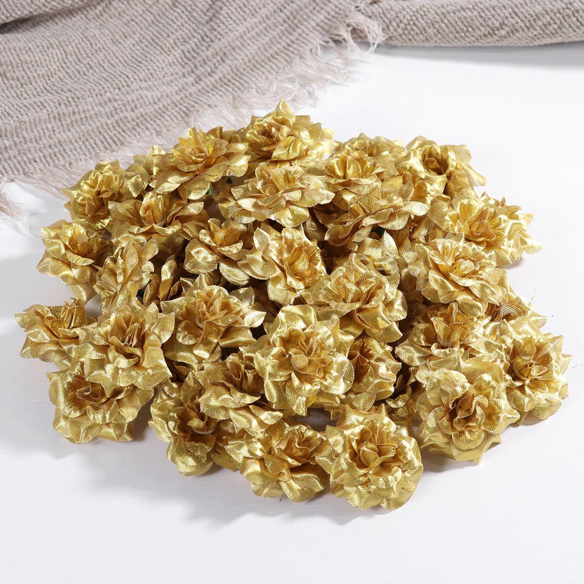 50PCS Premium Artificial Lifelike 4.5CM Roses Flower Heads For Festive Wedding Home Party Decoration
