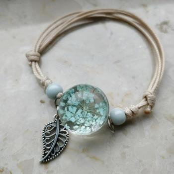 Boho Vintage Charm Bracelet Crystal Glass Ball Charm Bracelet Women Weave Multilayer Leather Bracelet Lucky Leaf Clover Flower