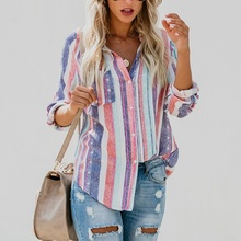 American Fashion Color Stripes Large Women Blouse Ladies Autumn New European Fashion cute Female Womens Top Shirt