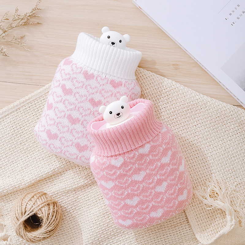 Kawaii Silicone Hand Warmer Polar Bear Hot Water Bag Warm Bottle Microwave Hot Pack Heating Freezer Colding Bag Removable Set