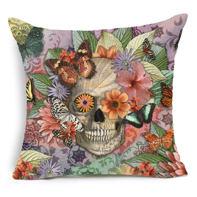 45X45CM SKULL THEMED PILLOW CASE (8 VARIAN)