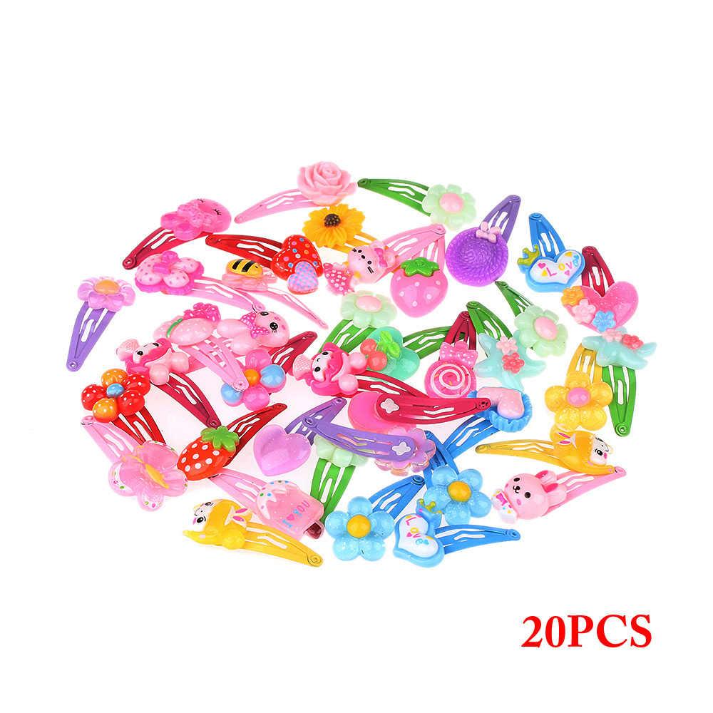 1/5/10 PCS ขายส่งสีผสมรูปแบบดอกไม้การ์ตูนสารพันน่ารักเด็กหญิงหญิง HairPin คลิปผมอุปกรณ์เสริมเครื่องประดับ
