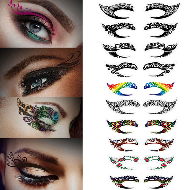 10 Pairs Temporary Eye Tattoo Stickers Waterproof Colorful ...
