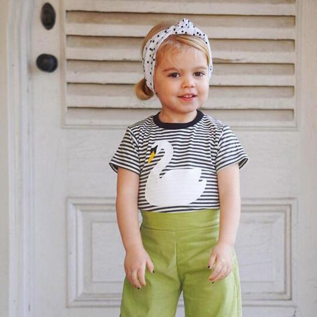 New Spring Summer Baby Kids T Shirt Fashion Swan Design Boys Girls