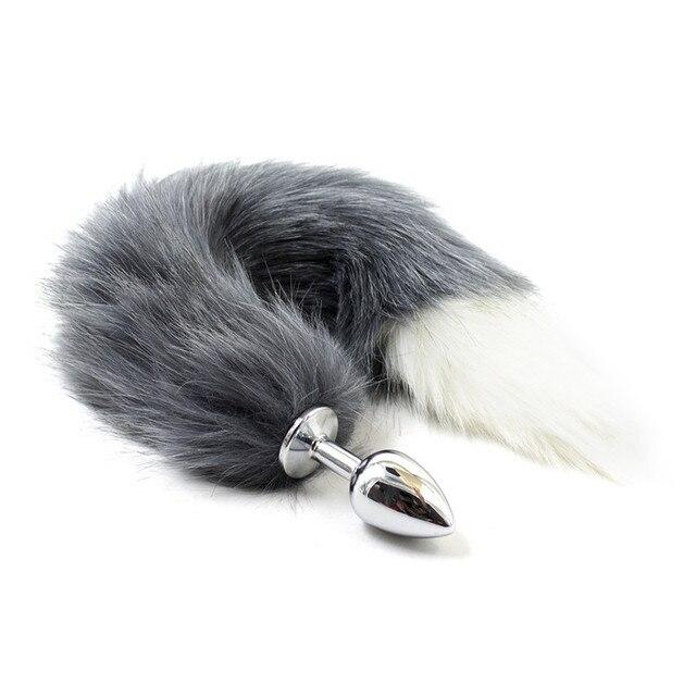 Fetish silicone anale dildo con animale gatto volpe coda Butt plug sesso.