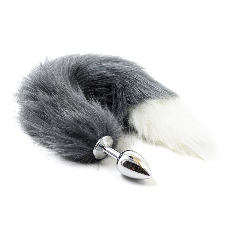 Fetish Stainless Steel Size S Anal Plug Anal <font><b>Sex</b></font> <font><b>Toys</b></font> ,Butt Plug Grey Animal <font><b>Cat</b></font> Fox Tail <font><b>Sex</b></font> <font><b>Toy</b></font> For Women Roleplay Adult Games image