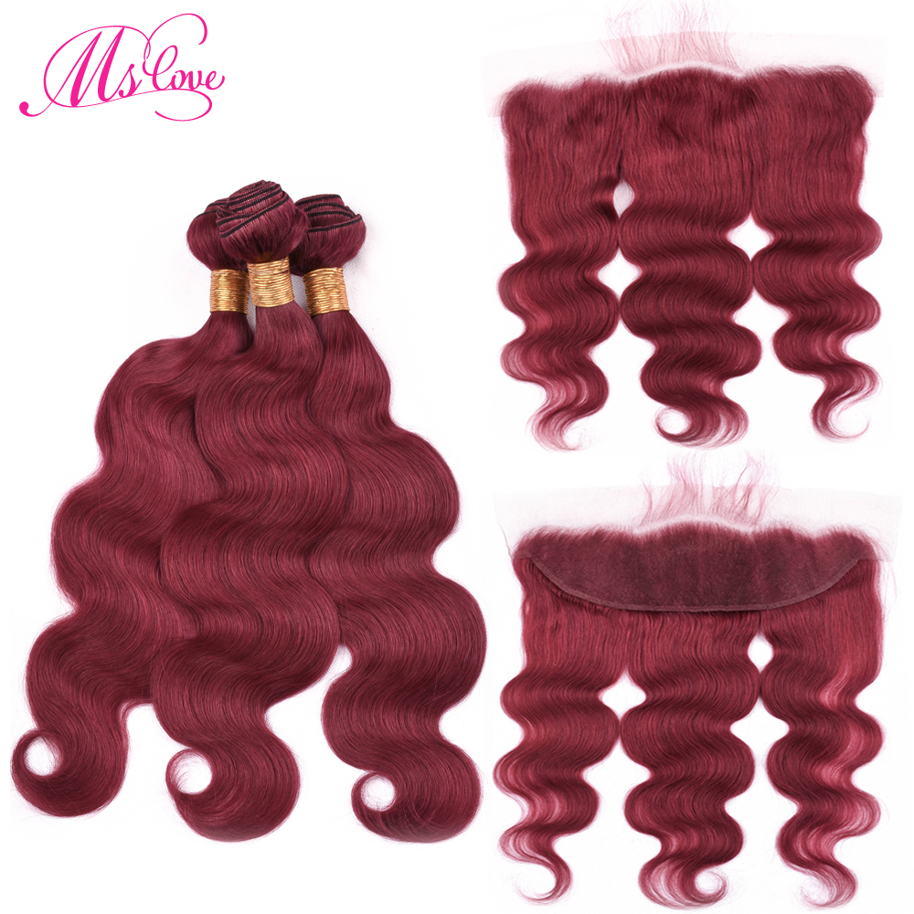 Ms Love Pre Colored Dark Red Body Wave Human Hair Bundles With Lace Frontal Closure Remy Brazilian Hair Lace Frontal