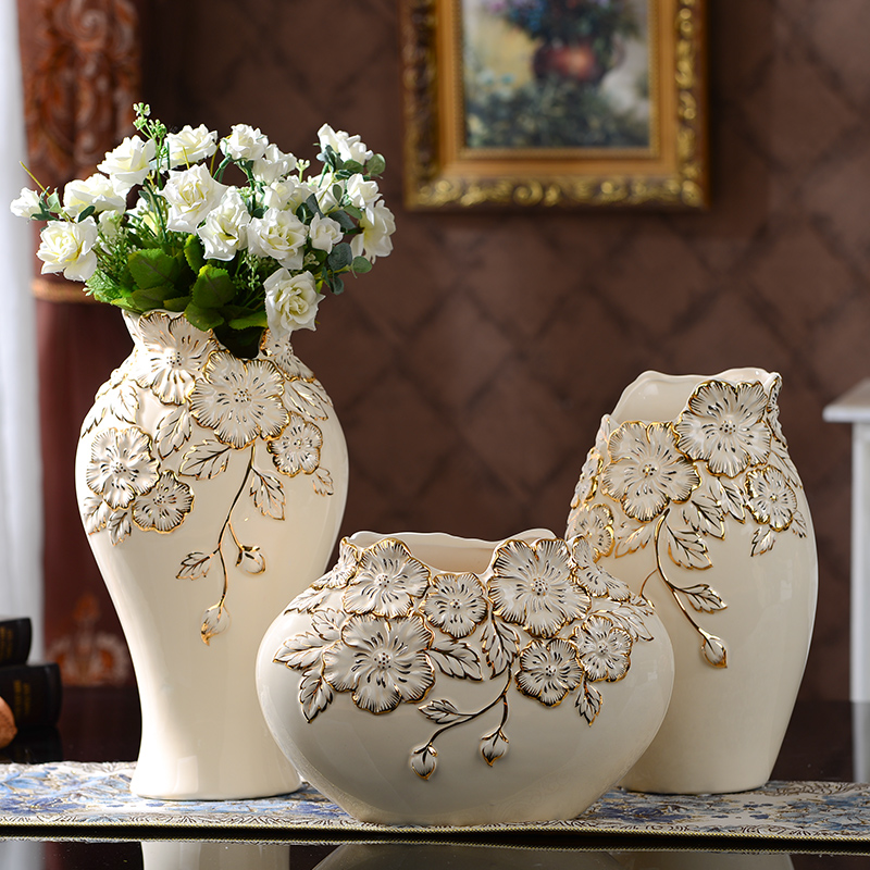 Yolife Chinese Ceramic Vase Modern Porcelain Three Pieces Set Flower Arrangement Home For