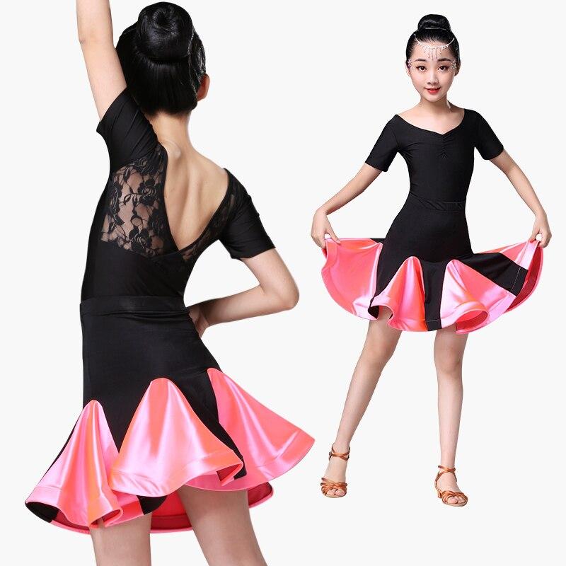 ballroom latin dance dress for girls competition lace latin salsa dress kids girl rumba samba spandex children 2019 tango skirt