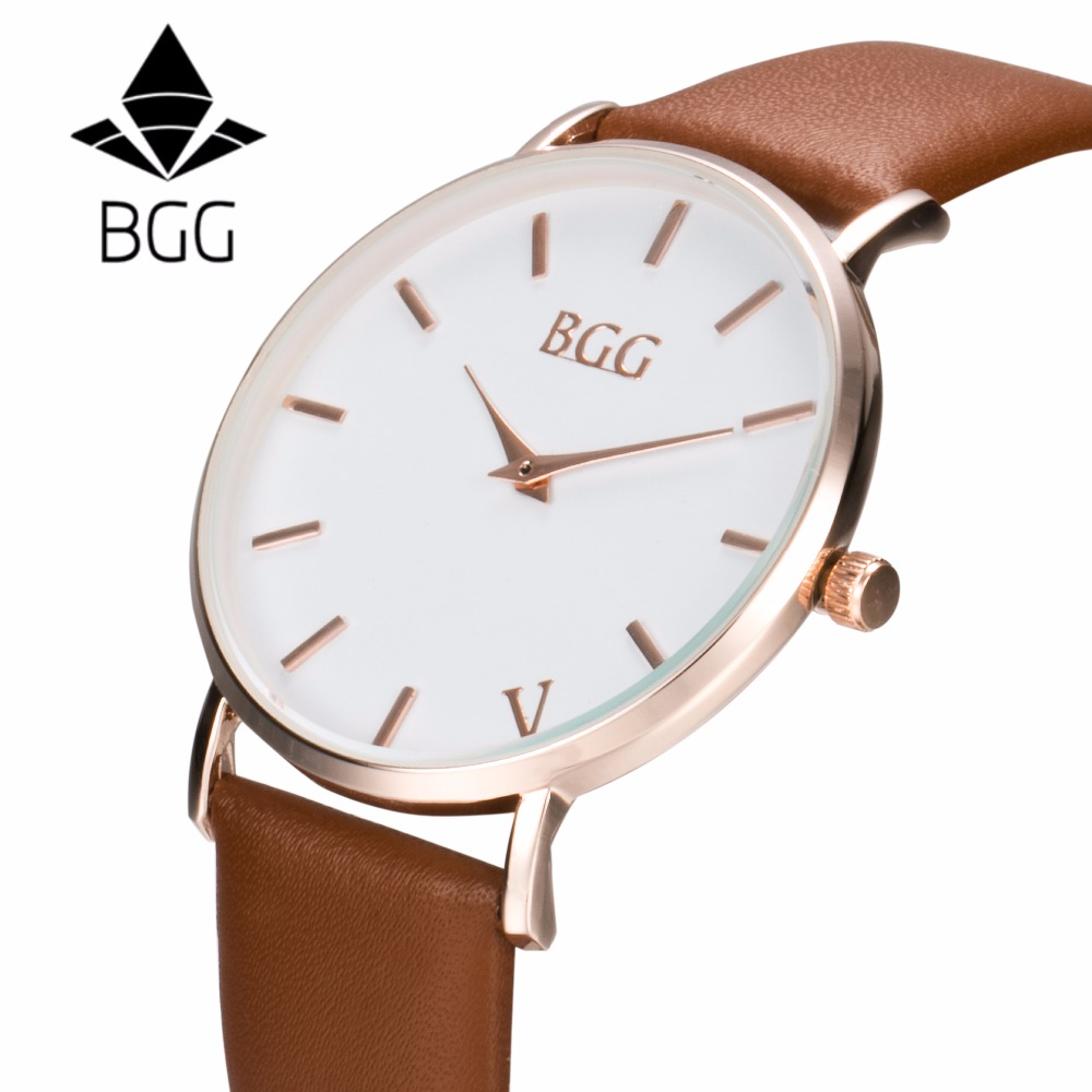 2017 Rose Gold Mens Watches Top Brand BGG Quartz Watch Fashion Leather Sports Wrist watch Montre Homme Male Clock relogio mascul top brand ohsen fashion dual time led clock sports waterproof male watch digital anolog mens army wristwatch quartz montre homme
