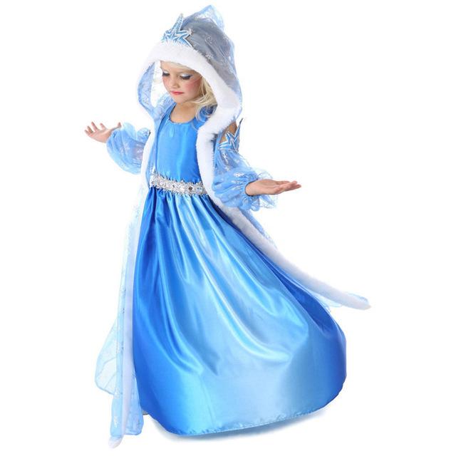 Fantasia Elsa vestido 2015 de Moda de Verano Niños Niñas Niños Vestido de la Princesa Fiesta de Disfraces 3 unids Set 3-10 Años Ropa de bebé Niña