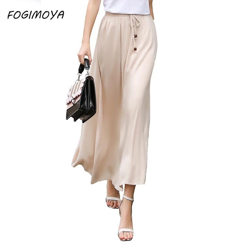 FOGIMOYA 2018 Cotton Linen Skirt Women Summer Solid Ankle Length Skirts Women's Casual Bodycon Skirt Wild Waist A Line Skirts